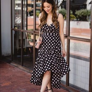 Eliza J Polka Dot High-Low Dress in Size 4